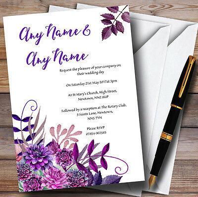Cadbury Purple Watercolour Florals Personalised Wedding Invitations