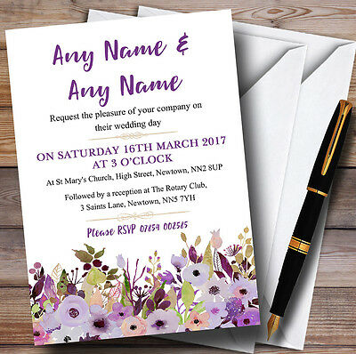 Lilac & Purple Peonies Personalised Wedding Invitations