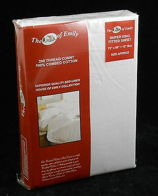 """White 100% Cotton Super King Size Bed 12"""" Extra Deep Fitted Sheet 200 TC"""