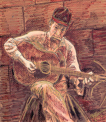 """""""BOB DYLAN WITH GUITAR"""" by Ruth  Freeman INK ON WATER COLOR PAPER 6"""" X 9"""""""