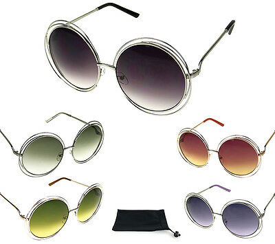 Womens Designer Fashion Big Round Circle Sunglasses Thin Wire Metal Gradient HOT