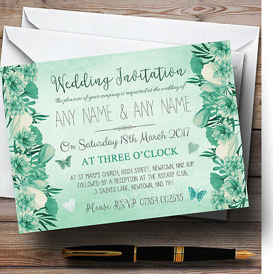 Pale Teal Mint Green Vintage Watercolour Floral Personalised Wedding Invitations