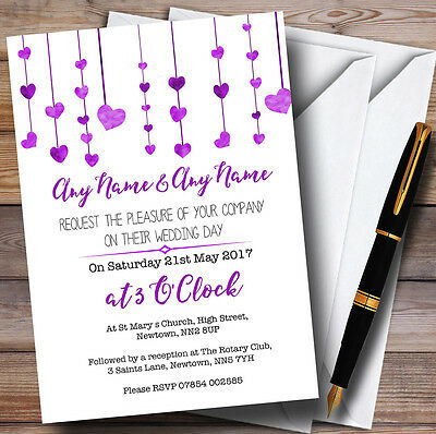 Purple Watercolour Heart Drop Personalised Wedding Invitations