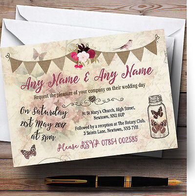 Rustic Parisian Style Vintage Personalised Wedding Invitations