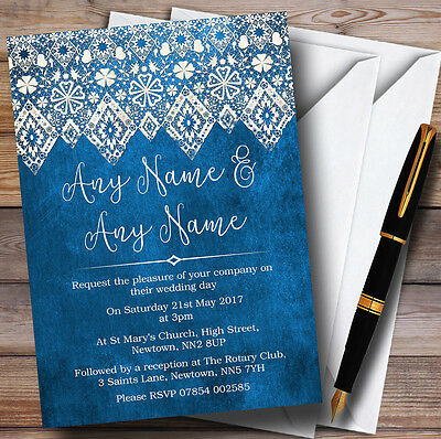 Vintage Blue Old Paper & Vintage Lace Effect Personalised Wedding Invitations