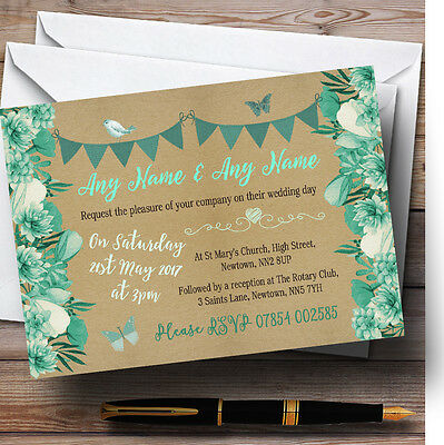 Teal & Mint Green Rustic Bunting & Floral Personalised Wedding Invitations