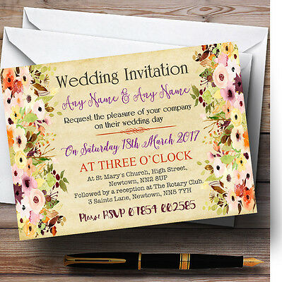 Vintage Spring Watercolour Personalised Wedding Invitations