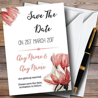 Watercolour Coral Magnolias Personalised Wedding Save The Date Cards