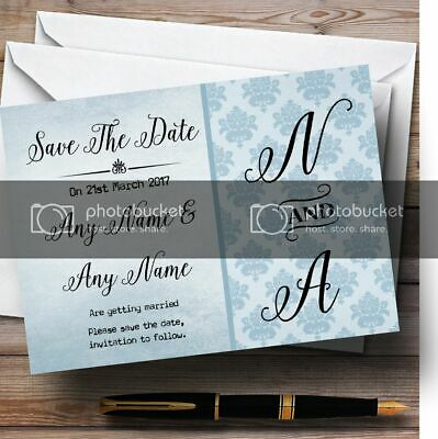 Vintage Damask Initials Powder Blue Personalised Wedding Save The Date Cards