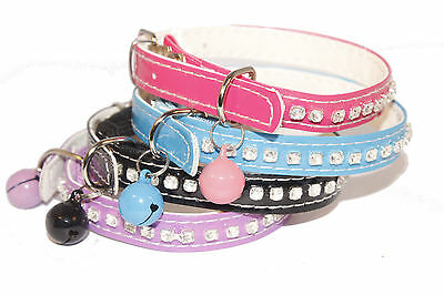 Cat Collars New Cat Diamante Stud Safety Elastic Bell Male Female Coller Collor