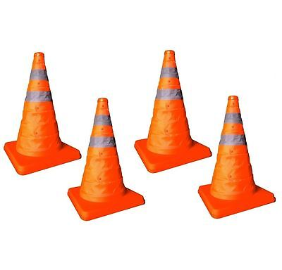"4 x 18"" Pop Up Collapsible Portable Safety Cone Football Traffic Posts Driving"