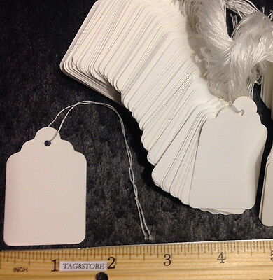 NEW 100 WHITE #7 Large Price Tags BLANK Strings STRUNG Retail Store Merchandise
