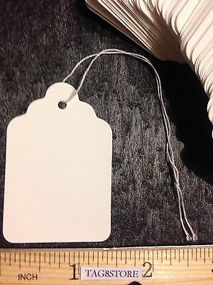 LOT 100 WHITE Large PRICE TAGS #7 Merchandise Tag BLANK with String STRUNG SALES