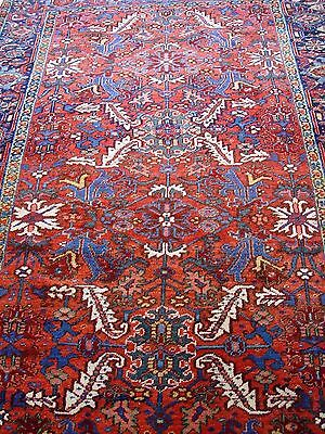 """6'3"""" x 9'7"""" Antique Persian Heriz Hand-Knotted Wool Oriental Rug"""
