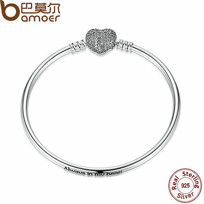 """Authentic S925 Sterling Silver Bangle """" Always in my heart """" With Clear CZ Clasp"""