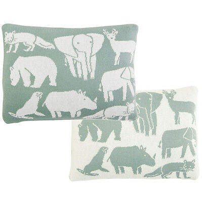 DwellStudio Soft Knit Reversible Print Pillow - CARAVAN | Baby Nursery Animals