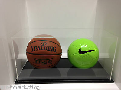 Double Ball Display Case Acrylic Perspex -BasketBall, Soccer, Netball,VolleyBall