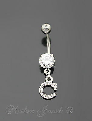Letter C Alphabet Cz Dangle 316L Surgical Steel Navel Belly Curved Bar Ring