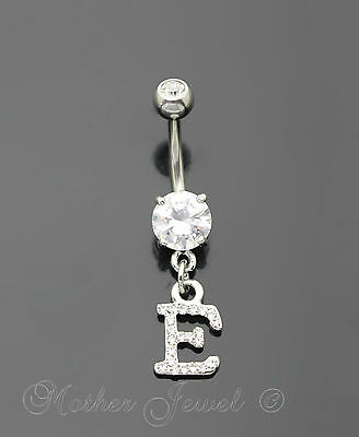 Letter E Alphabet Cz Dangle 316L Surgical Steel Navel Belly Curved Bar Ring