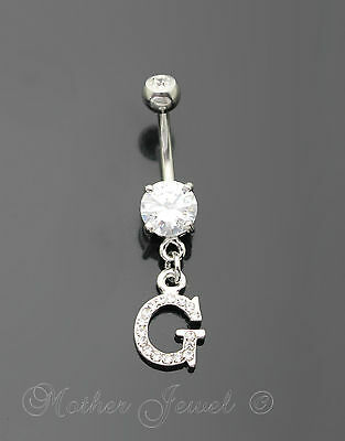 Letter G Alphabet Cz Dangle 316L Surgical Steel Navel Belly Curved Bar Ring