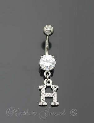 Letter H Alphabet Cz Dangle 316L Surgical Steel Navel Belly Curved Bar Ring