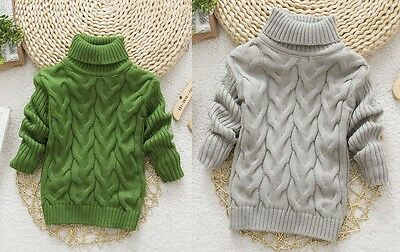 NEW Kids Boys Chunky Knit Turtleneck Sweater Pullover Top size 2-3 4-5 6-7