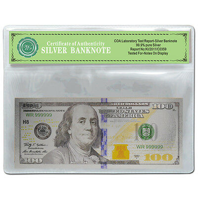 Novelty New Colored $100 Banknote US Pure Silver $100 Dollar Bill Free PVC Frame