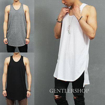 Men's Over Long Unbalanced Side Vented Split Hem Sleeveless Tank Top, GENTLER