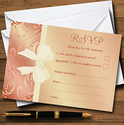 Cream Pale Coral Peach Pink Bow Wedding Personalised RSVP Cards