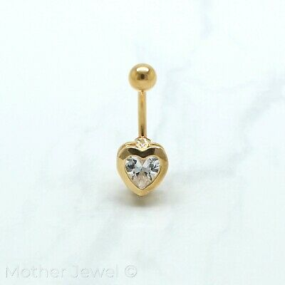 14K Yellow Gold Triple Plated Bezel Set Heart Simulated Diamond Belly Navel Ring