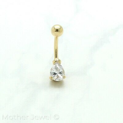 14K Yellow Gold Triple Plate 7Mm Pear Simulated Diamond Belly Button Navel Ring