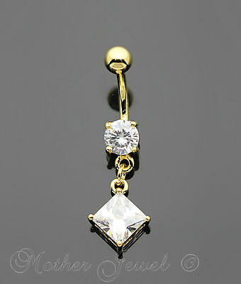 14K Yellow Gold Triple Plated Square Dangle Simulated Diamond Belly Navel Ring