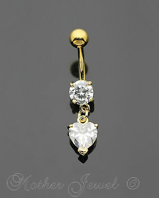 14K Yellow Gold Triple Plated Heart Dangle Simulated Diamond Belly Navel Ring