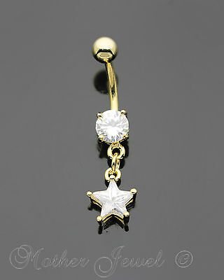 14K Yellow Gold Triple Plated Star Dangle Simulated Diamond Belly Navel Ring