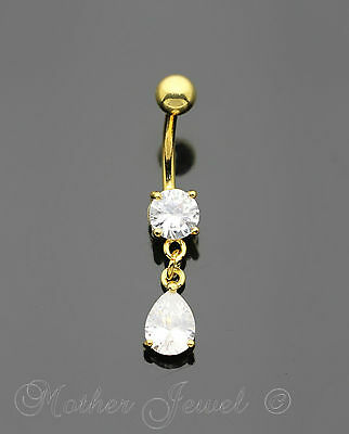 14K Yellow Gold Triple Plated Pear Dangle Simulated Diamond Belly Navel Ring