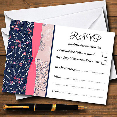Navy Blue & Coral Pink Floral Personalised RSVP Cards