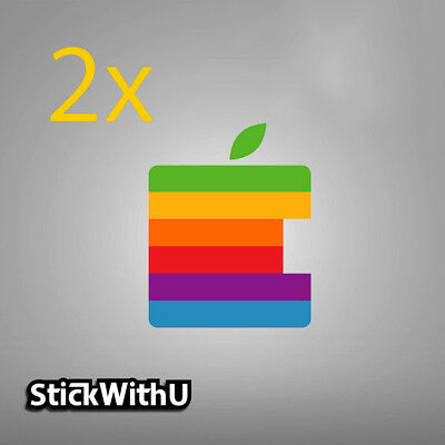 2x MacBook Decal Retro Apple Logo Sticker Rainbow Air Pro Retina Vinyl LG046x2