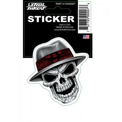Lethal Threat Sticker Motorcycle, Scooter, Helmets Boards Ch00007 Ganster Skull