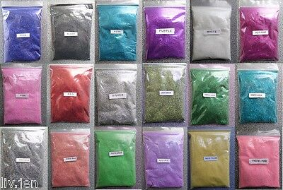 100g GLITTER PACK - FOR ARTS, CRAFTS, NAIL ART, GLASS COVERING - 18 COLOURS