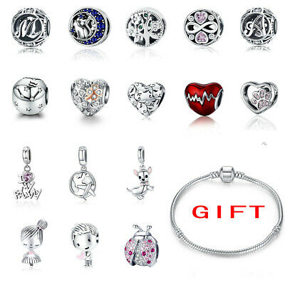 European Solid S925 Sterling Silver Clip Charms Beads Fit Bracelet Necklace hot
