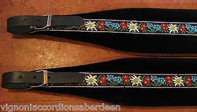 Deluxe Folk Accordion Straps Italcinte 348a Black Leather + padding + BackStrap