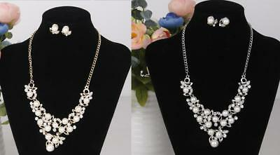 Fabulous Diamante Pearl Clear Rhinestone Jewelry Set Necklace Chain and Earring