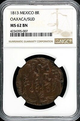 War For Independence 8 Reales 1813 OAX NGC MS62BN KM234 32976