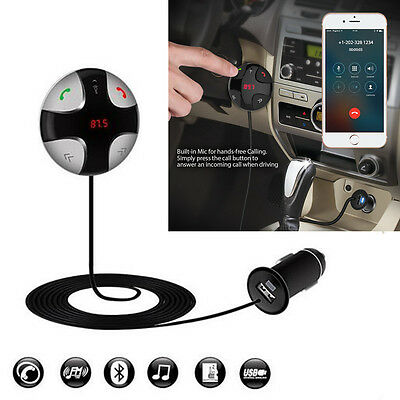 In-Car Safety FM Transmitter Adapter Bluetooth Hands-free Kit With USB Charger
