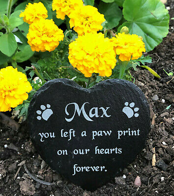 Personalised Engraved Slate Heart Pet Memorial Headstone Grave Marker Plaque Dog