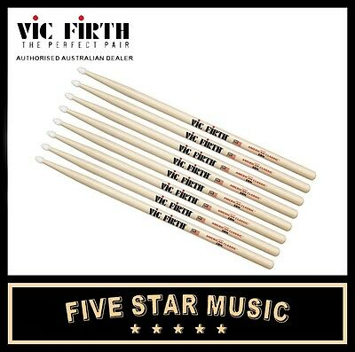 Vic Firth 5B Wood Tip Drum Stick 4 Pairs Drumsticks Vf5B Usa Hickory - New