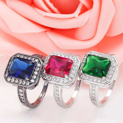 925 Sterling Silver Black Gold Filled Ruby Emerald Sapphire Wedding Ring Jewelry