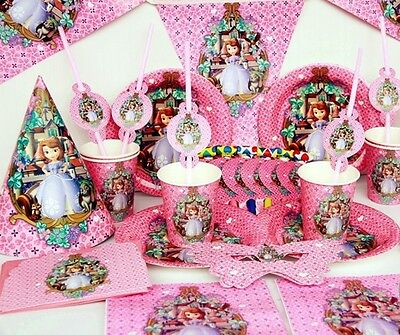 Sofia the First Deluxe Party set,14 items girls birthday party decoration kids