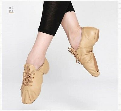 NEW Leather Lace Up Jazz Shoes Black & Tan