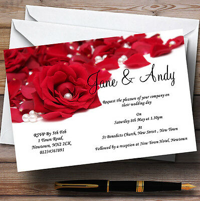 White Pearl Red Rose Petals Personalised Evening Reception Invitations